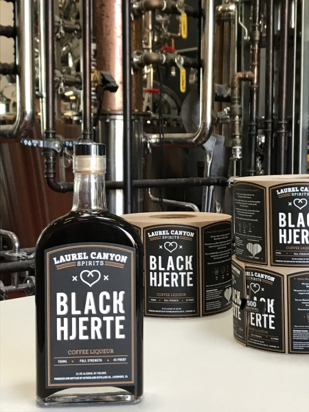 Black Hjerte (heart) bottle and labels