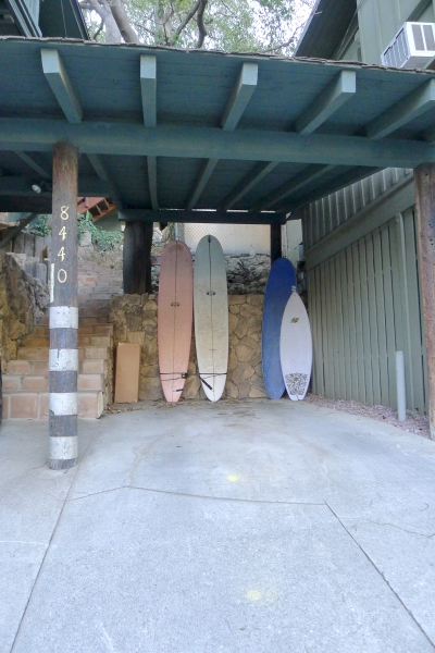 Surfboards in carport in Laurel Canyon