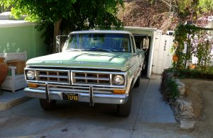Green pickup truck in Laurel Canyon